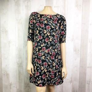 [Amour Vert] Black Floral Silk Fifi Shift Dress